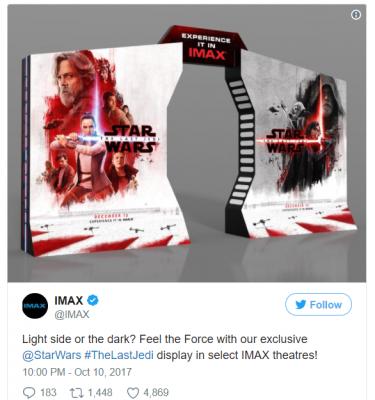 Egy Utolsó Jedik Twitter poszt, amiben Luke az erő két oldalán áll.